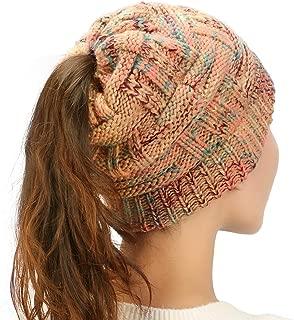 Womens Ponytail Beanie Hat Soft Knit BeanieTail Warm Winter Hat