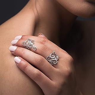 Los anillos del nudillo de la plata esterlina fijaron de 2, anillos ajustables de midipara las mujeres, anillos del oro de Rose midi, anillos del nudillo del oro color de rosa, anillos espirales griegos