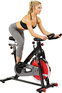 Sunny Health & Fitness 49 Lb Chromed Flywheel, Silent Belt Drive Indoor Cycle Bike with Leather Resistance Pad