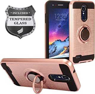 LG Tribute Empire/Dynasty, Aristo 3, Aristo 2 / 2 Plus, Phoenix 4, Fortune 2, Risio 3, Zone 4, Rebel 4, LG K8/K8+ 2018 - Hybrid Hard Case w/ Ring Stand + Tempered Glass Screen Protector - RS2 Rosegold