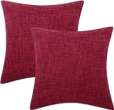 Lewondr Fine Linen Throw Pillow Cover, Set of 2 Square Soft Woven Fine Throw Pillow Case Sham Sofa Cushion Decoration Soli...