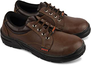 Aktion Safety Genuine Leather Shoes Safer-1502 Steel Toe - Size 9, Brown