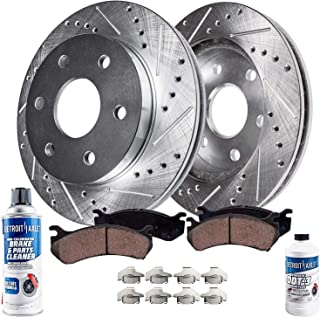 Detroit Axle - Drilled & Slotted Front Brake Rotors & Ceramic Pads w/Clips Hardware & BRAKE CLEANER & FLUID for REAR DRUM BRAKE MODELS 2005-2006 Chevy Silverado 1500 / GMC Sierra 1500