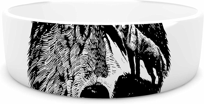 KESS InHouse BarmalisiRTB Night Wolf Black White Illustration Pet Bowl, 7  Diameter