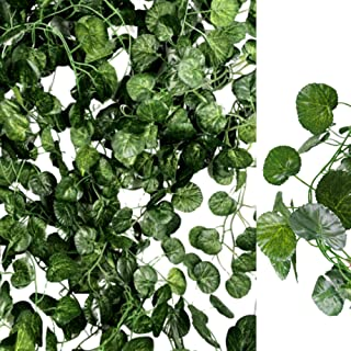 Miss Bloom Artificial Ivy Leaf Garlands 12 Pack 84ft | Fake Leaves Greenery Backdrop Vines | Silk Wall Hanging Plants | Faux Foliage Vine for Home Patio Wedding | Jungle Party Decorations (Begonia)