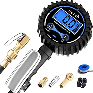 """Digital Tire Inflator with Pressure Gauge and Longer 24"""" Hose - Air Chuck with Accurate Gauge for Air Compressors and Inflators - 200PSI"""