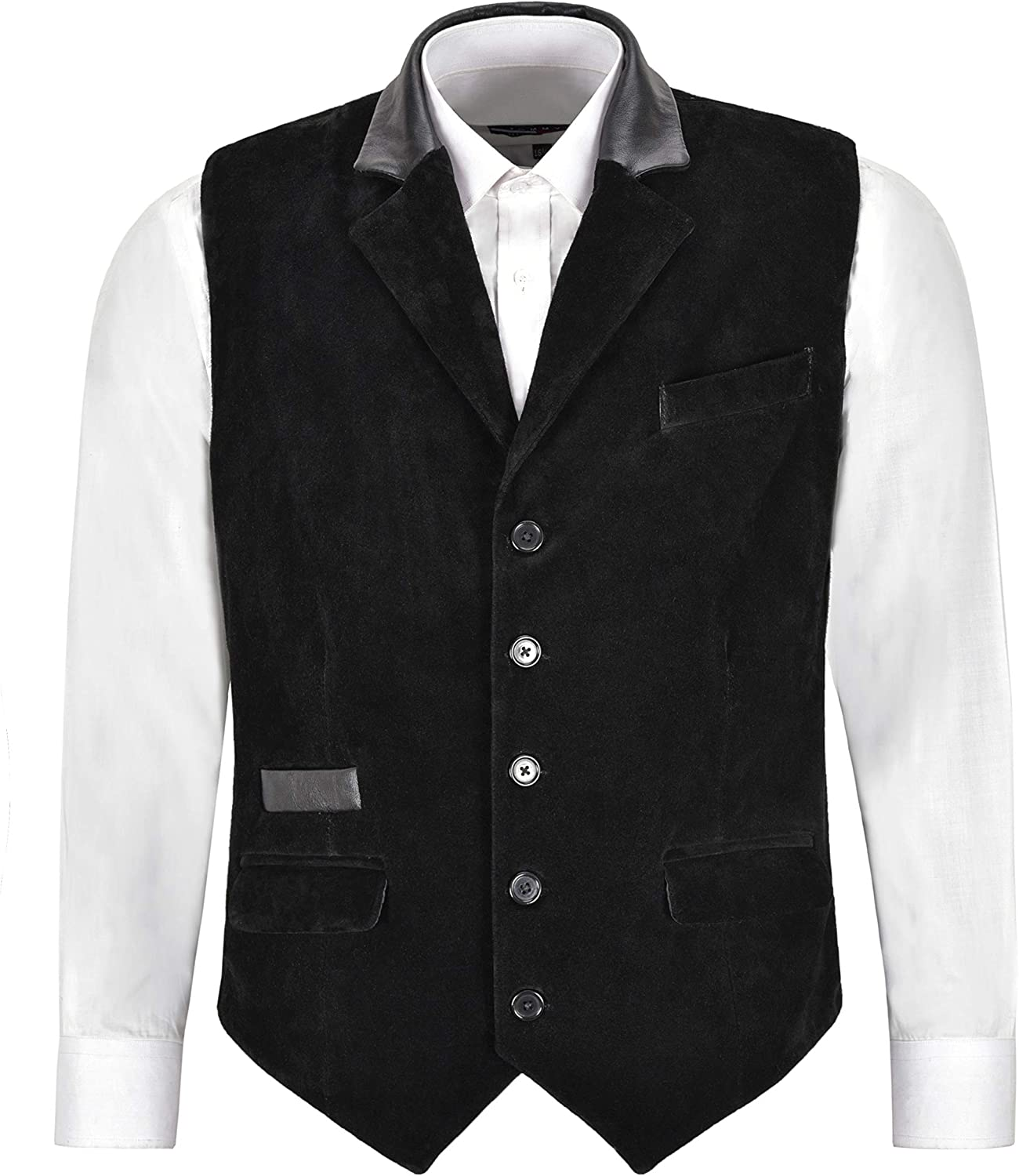 Men's Real Leather Waistcoat Black Suede Party Fashion Classic Business Vest 7175