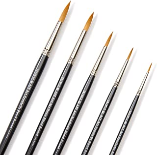 AIT Art Select Paint Brush Set, 5 Long Handle Synthetic Blend Round Paint Brushes, Handmade in USA, Set for Superior Resul...