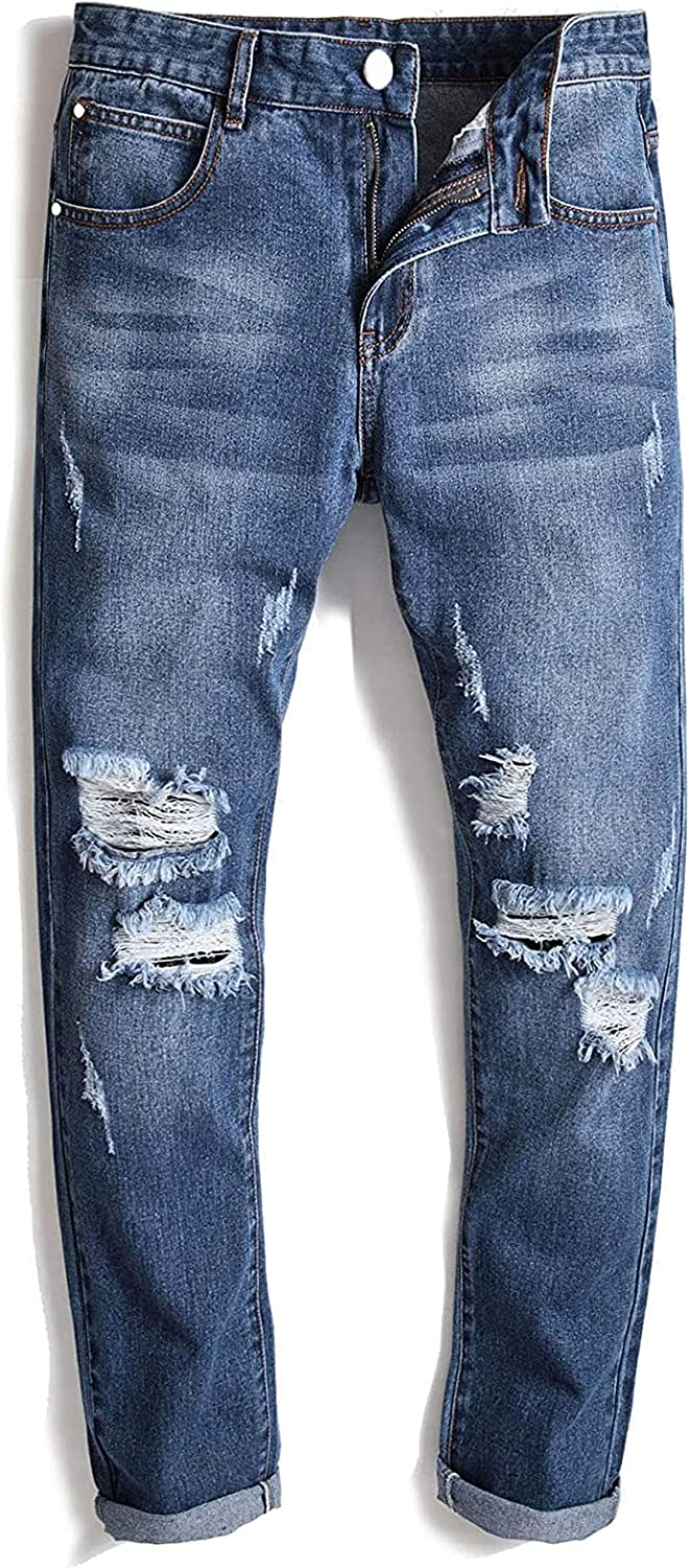 Men's Ripped Jeans Fashion Simple Z Limited Special Price Five-Pocket Slim Fit Stretch 2021 new