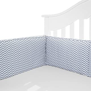 TILLYOU Cotton Collection Baby Safe Crib Bumper Pads for Standard Cribs Machine Washable Padded Crib Liner Thick Padding for Nursery Bed Safe Crib Guards Protector de Cuna, 4 Piece, Gray Chevron