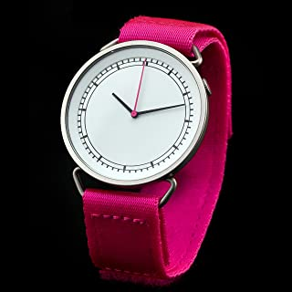 MUW Unisex Quartz Watch with White Dial Analogue Display and Pink Nylon Strap 43570
