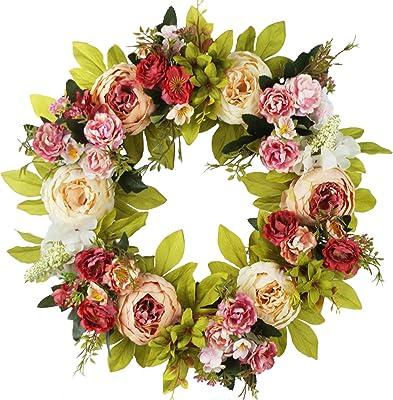 Mikilon Artificial Rose Flower Wreath Home D/écor Door Wreath 14Inch Fake Rose Spring Wreath for Front Door Wall Wedding
