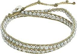 """12"""" Grey Pearl Double Wrap Bracelet"""