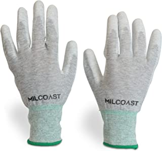 Milcoast Carbon Fiber Electrostatic Discharge Anti-Static ESD Gloves - Polyurethane Palm Coated for Work and Handling - Pack of 10 Pairs (Medium)