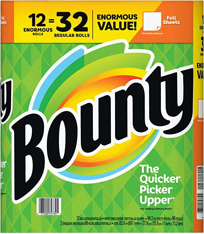 Bounty Enormous Roll Paper Towels 12 Pk White