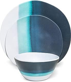Melamine Dinnerware Set - Melamine Plates 12 Pcs Outdoor Plates Summer Plates and Bowls Sets Dinnerware Melamine Plates Ideal Camping Dish Set Dinnerware Set for 4 Dishwasher Safe (Blue Ocean)