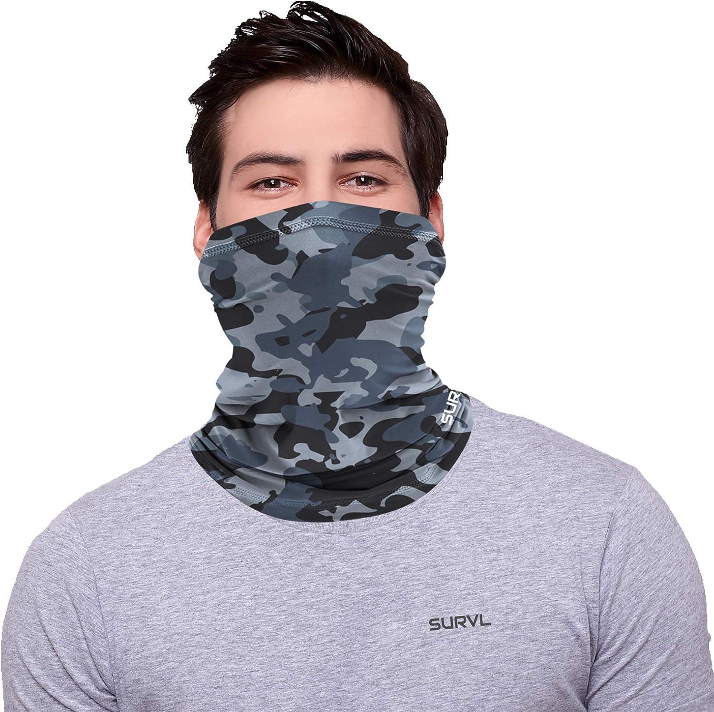 SURVL Neck Gaiter Face Mask Bandana Neck Warmer Cold Windproof Lightweight Breathable Cooling Fabric For Men Women