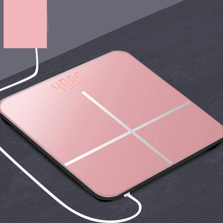 Báscula de grasa corporal para el suelo de cristal, balanza de grasa corporal LCD USB carga inteligente báscula electrónica balanza de peso corporal balanza digital rosa