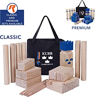 Kubb Game Set CLASSIC or PREMIUM Set by Rally & Roar - Fun, Interactive Outdoor Family Yard Games - Durable Wood Blocks with Travel Bag - for Outside, Lawn, Bars, Backyards