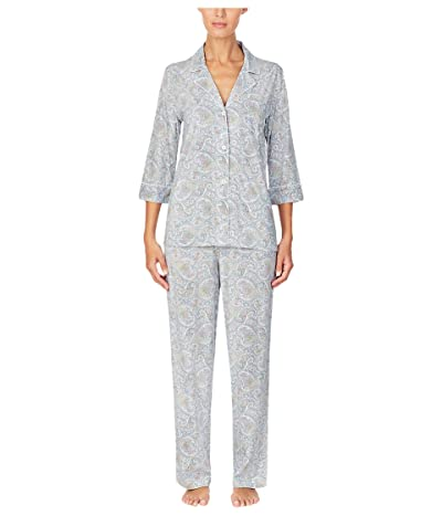 LAUREN Ralph Lauren Long Sleeve PJ Set (Blue Multi) Women
