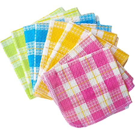 Honla Cotton Windowpane Kitchen Dish Cloths,Set of 8 in 4 Assorted Color,13 by 13 Inch,Machine Washable