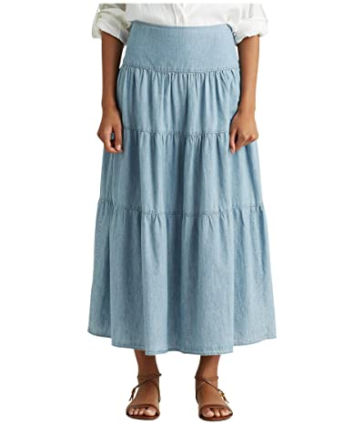 LAUREN Ralph Lauren Tiered Chambray Peasant Skirt (Blue Lagoon Wash) Women