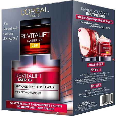 L'Oréal Paris Revitalift Laser X3 Routine Duo Set de cuidado facial intensivo antiedad, mitiga las arrugas y proporciona una piel uniforme