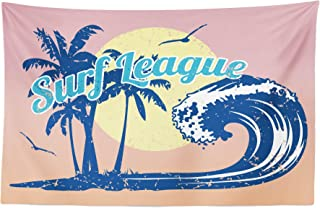 Lunarable Vintage Hawaii Tapestry, Surf League Lettering with Wave Tropical Trees and Birds Silhouettes Print, Fabric Wall Hanging Decor for Bedroom Living Room Dorm, 45