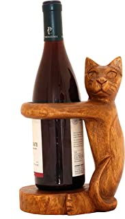 G6 Collection Wooden Handmade Wine Rack Bottle Holder Free Standing Siamese Cat Wood Rustic Hand Carved Home Decor Accent Decoration Gift Bar Art Handcrafted Decorative Artwork Cat Wine Holder