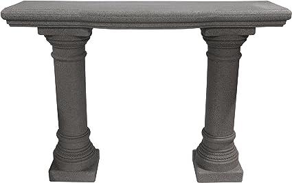 """Emsco Group 2316 Lightweight Natural Sandstone Garden Shelf with Columns, 48"""", Granite"""