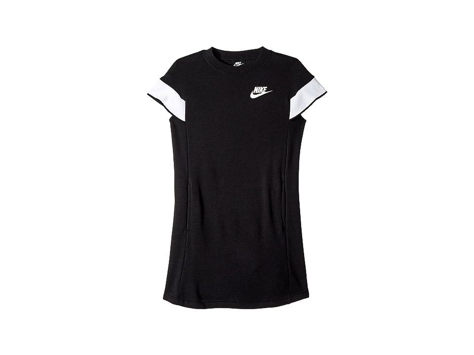 Nike Kids NSW Short Sleeve Dress (Little Kids/Big Kids) (Black/White) Girl