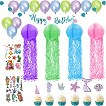 Mermaid Birthday Party Decorations Supplies, Little Jellyfish Paper Lanterns for Under the Sea Games/Garden Party Decorati...