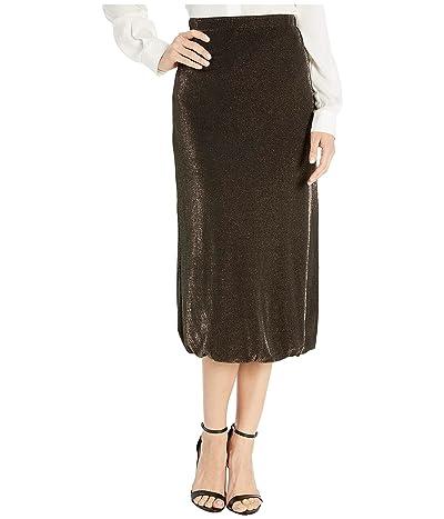 WAYF Lauren Twist Hem Midi Skirt (Black/Gold Lurex) Women