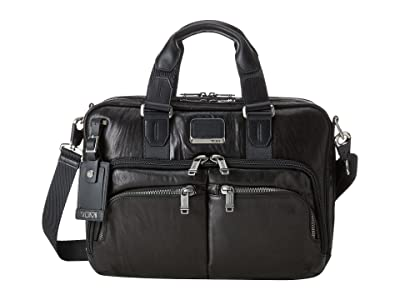 Tumi Alpha Bravo Albany Slim Commuter Brief (Black Leather) Briefcase Bags