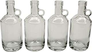 North Mountain Supply Glass Moonshine Jug 375ml for Wine/Spirits Bar Top Finish - Case of 4 (375ml)