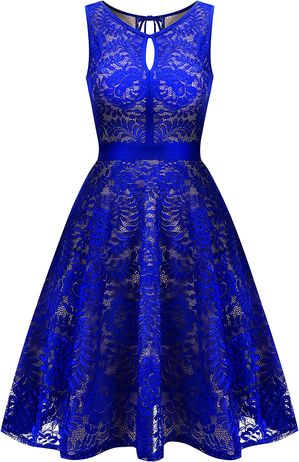 Uniboutique Women's Floral Lace Sleeveless Elastic Waist Pleated Swing Party Dress