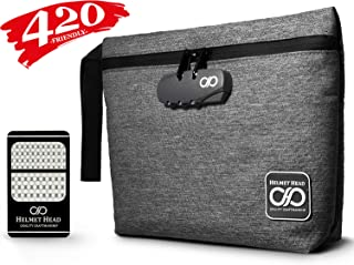 HELMET HEAD Smell Proof Bag + Grinder Card   Durable Water Repellent Stash Bag with Combination Lock & Inside Pouches for Your Herbs & Smelly Accessories: Pipe, Vape, Rolling Papers (Gray)