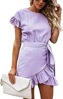 Women's Dress Solid Front Belted Fishtail Short Sleeve Ruffle Hem Mini Short Dresses