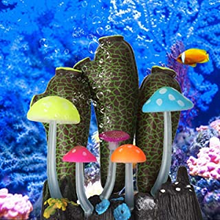 Aquarium Landscaping Decor,Luminous Emulation Silica Gel Plant Decoration for Home Fish Tank and Aqurium(Dark green)