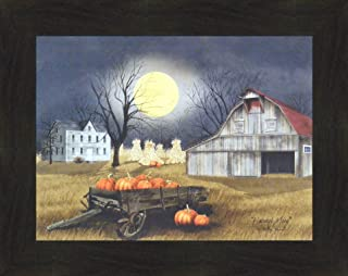 Home Cabin Décor Harvest Moon by Billy Jacobs 16x20 Primitive Farm Barn Pumpkins Full Moon Corn Shocks Wagon Framed Print Picture