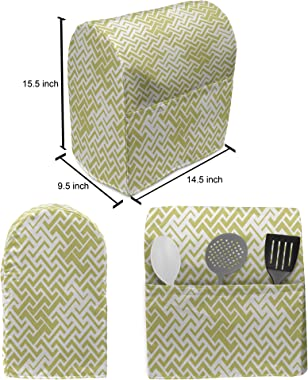 Lunarable Geometric Stand Mixer Cover, Abstract Monochrome Design Illustration with Repetitive Zigzag Motifs Print, Kitchen A