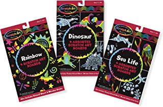 Melissa & Doug Scratch Art Activity Kits Set - Rainbow, Dinosaur, and Sea Life