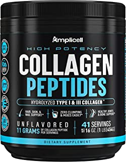 Collagen Powder – Grass Fed Collagen Peptides with Aminos - Promotes Healthy Skin & Nails - Bone & Joint Support - Collagen Hydrolysate - Hydroylzed Collagen Powder, Unflavoured 454g