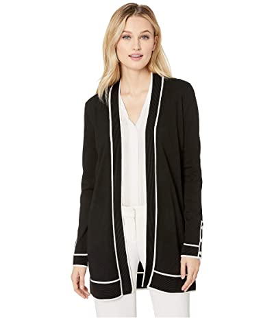 Calvin Klein Cardigan with Rib Detail and Piping (Black/White Combo) Women