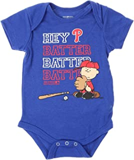 Outerstuff MLB Philadelphia Phillies Baby Boys Infants Peanuts Love Baseball Creeper, Blue
