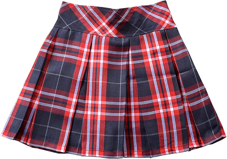 Women's Elastic Waist Plaid School Uniform Mini Pleated Skirt
