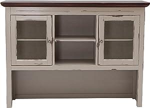 Sit Möbel 9733-97 Buffet-Aufsatz Spa, Akazie massiv, Farbe Taupe, 2 Glastüren, 2 offene Fächer, 148 x 34 x 110 cm