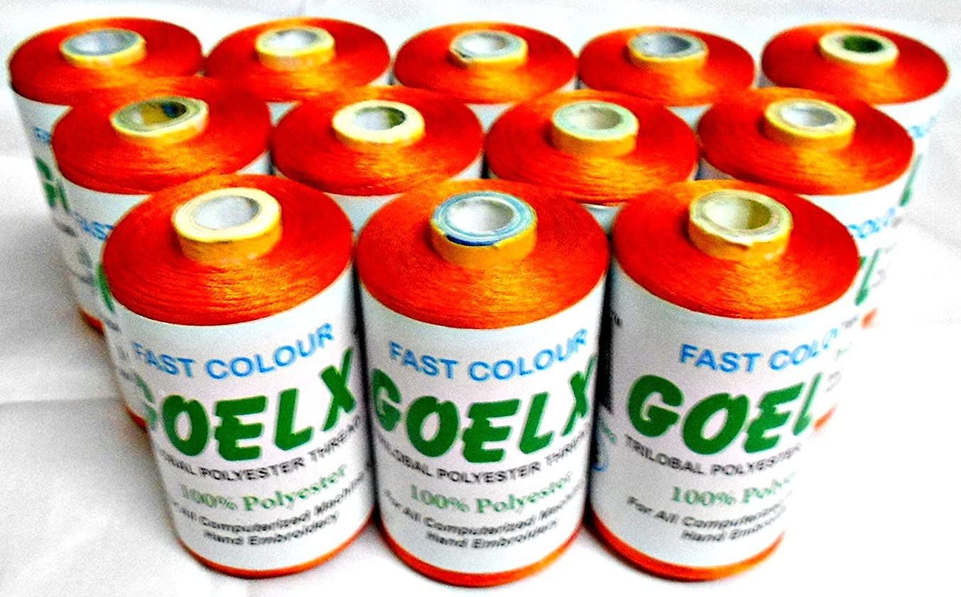 GOELX Polyester Thread / 12 Spool /2000 Yard Each/Orange