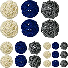 zorpia 21 Pcs/lot Mixed 3 Colors Rattan Wicker Balls Vase Fillers for Wedding Party Christmas Decoration, Assorted Three S...