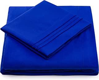 Split King Bed Sheets - Royal Blue Luxury Sheet Set - Deep Pocket - Super Soft Hotel Bedding - Cool & Wrinkle Free - 2 Fitted, 1 Flat, 2 Pillow Cases - Bright Blue SplitKing Sheets - 5 Piece